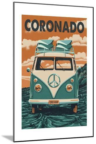 Coronado, California - VW Van-Lantern Press-Mounted Art Print