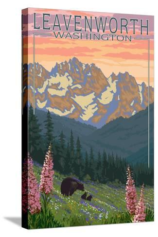 Leavenworth, Washington - Bears and Spring Flowers-Lantern Press-Stretched Canvas Print