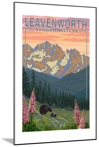 Leavenworth, Washington - Bears and Spring Flowers-Lantern Press-Mounted Art Print