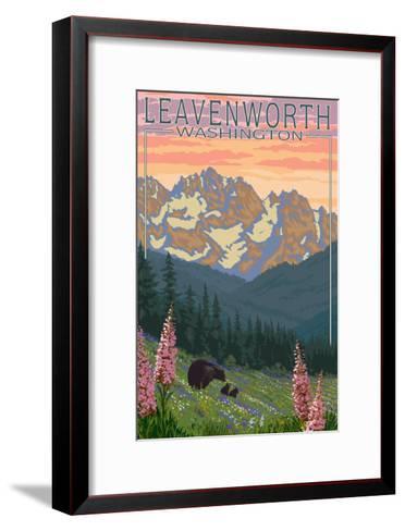 Leavenworth, Washington - Bears and Spring Flowers-Lantern Press-Framed Art Print