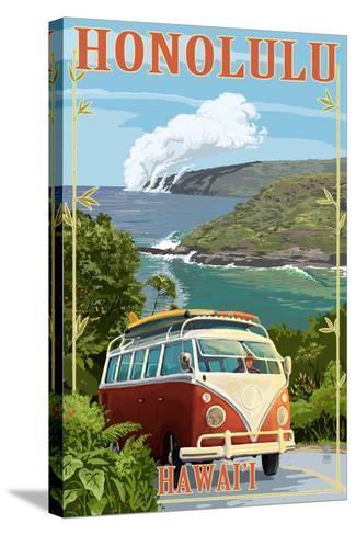 VW Van Coastal - Honolulu, Hawaii-Lantern Press-Stretched Canvas Print