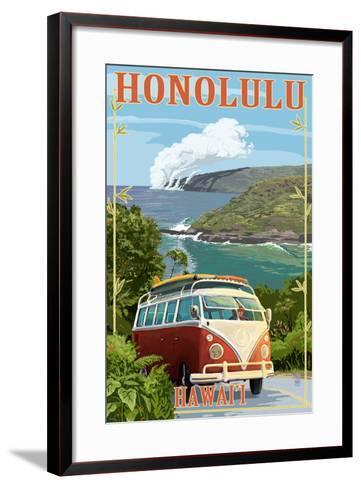 VW Van Coastal - Honolulu, Hawaii-Lantern Press-Framed Art Print