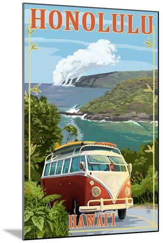 VW Van Coastal - Honolulu, Hawaii-Lantern Press-Mounted Art Print