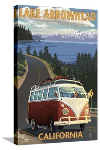 Lake Arrowhead - California - VW Van Coastal-Lantern Press-Stretched Canvas Print