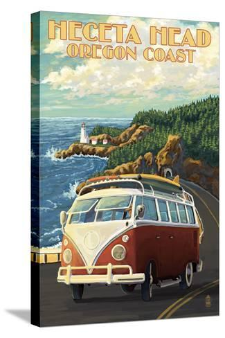 Heceta Head Lighthouse and VW Van-Lantern Press-Stretched Canvas Print