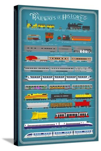Railways of History Infographic-Lantern Press-Stretched Canvas Print