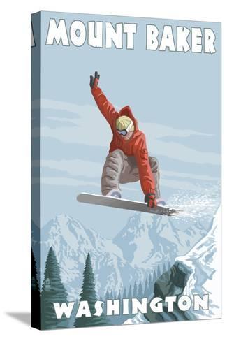Mount Baker, Washington - Snowboarder Jumping-Lantern Press-Stretched Canvas Print