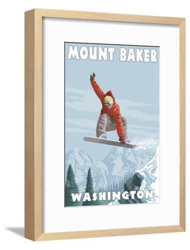 Mount Baker, Washington - Snowboarder Jumping-Lantern Press-Framed Art Print