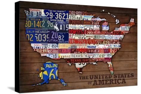 Americana - License Plate Map-Lantern Press-Stretched Canvas Print