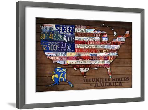 Americana - License Plate Map-Lantern Press-Framed Art Print