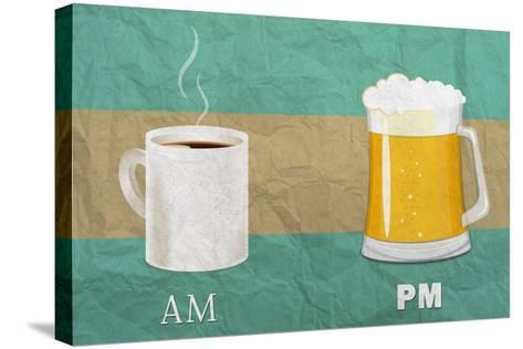 Coffee in the AM, Beer in the PM-Lantern Press-Stretched Canvas Print