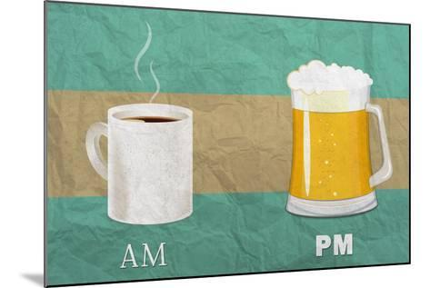 Coffee in the AM, Beer in the PM-Lantern Press-Mounted Art Print