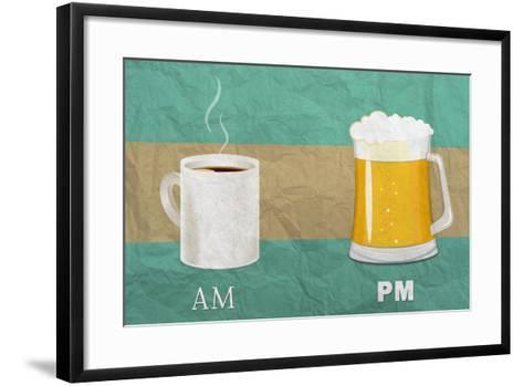 Coffee in the AM, Beer in the PM-Lantern Press-Framed Art Print