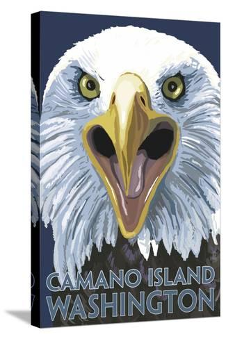 Camano Island, Washington - Eagle Up Close-Lantern Press-Stretched Canvas Print