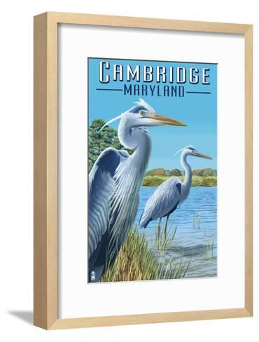 Cambridge, Maryland - Blue Herons-Lantern Press-Framed Art Print