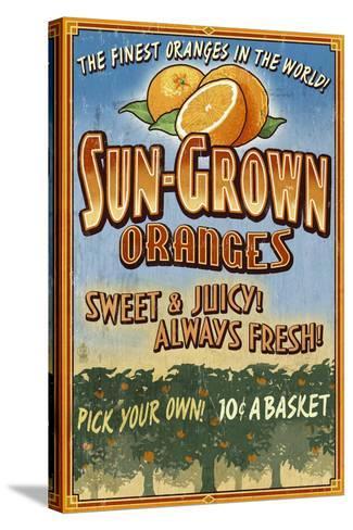Orange Orchard - Vintage Sign-Lantern Press-Stretched Canvas Print