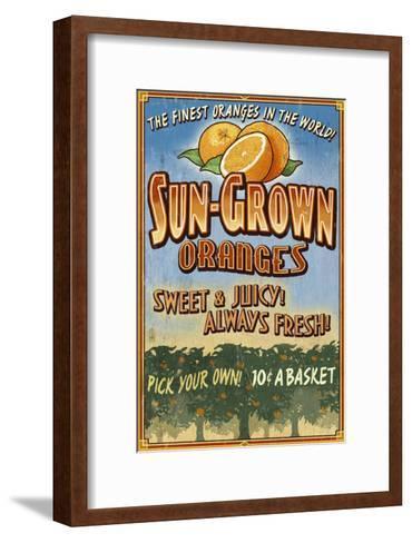 Orange Orchard - Vintage Sign-Lantern Press-Framed Art Print