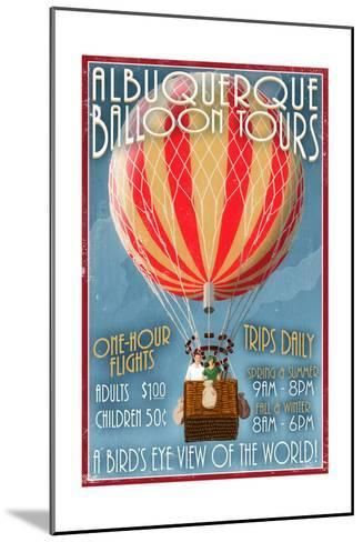 Albuquerque, New Mexico - Hot Air Balloon Tours - Vintage Sign-Lantern Press-Mounted Art Print