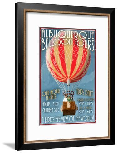 Albuquerque, New Mexico - Hot Air Balloon Tours - Vintage Sign-Lantern Press-Framed Art Print