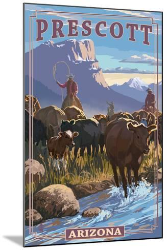 Prescott, Arizona - Cowboy Cattle Drive Scene-Lantern Press-Mounted Art Print