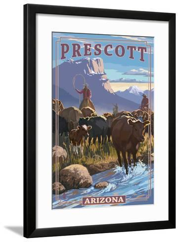Prescott, Arizona - Cowboy Cattle Drive Scene-Lantern Press-Framed Art Print