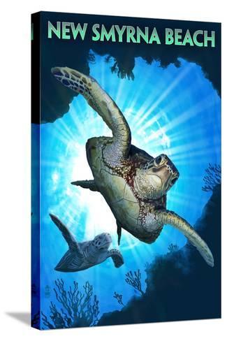 New Smyrna Beach, Florida - Sea Turtle Diving-Lantern Press-Stretched Canvas Print