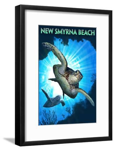 New Smyrna Beach, Florida - Sea Turtle Diving-Lantern Press-Framed Art Print