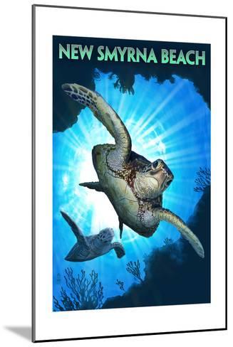 New Smyrna Beach, Florida - Sea Turtle Diving-Lantern Press-Mounted Art Print