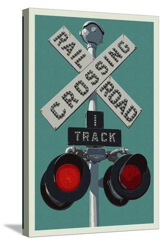 Railroad Crossing-Lantern Press-Stretched Canvas Print