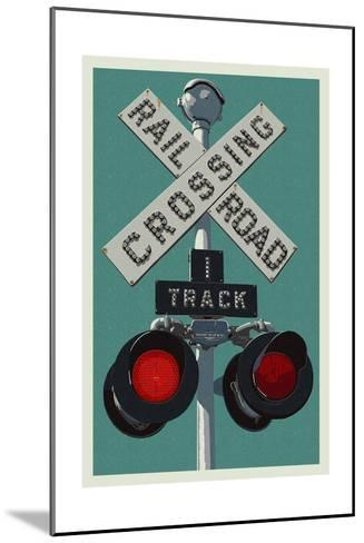 Railroad Crossing-Lantern Press-Mounted Art Print