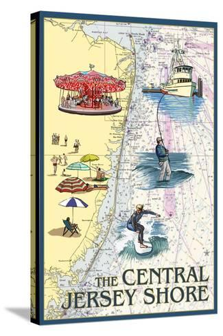 Central Jersey Shore - Nautical Chart #2-Lantern Press-Stretched Canvas Print
