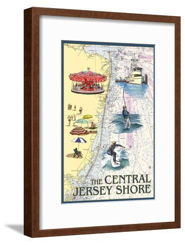 Central Jersey Shore - Nautical Chart #2-Lantern Press-Framed Art Print