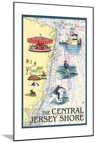 Central Jersey Shore - Nautical Chart #2-Lantern Press-Mounted Art Print