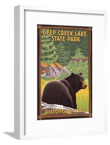 Deep Creek Lake State Park, Maryland - Bear in Forest-Lantern Press-Framed Art Print