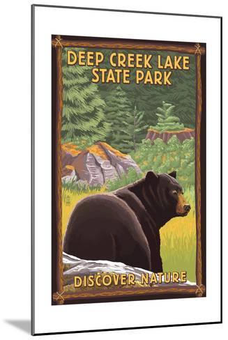 Deep Creek Lake State Park, Maryland - Bear in Forest-Lantern Press-Mounted Art Print
