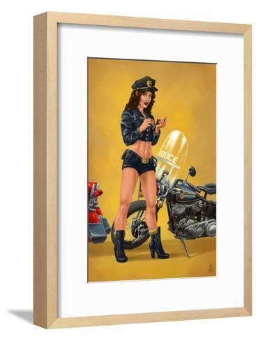 Pinup Girl Police Officer-Lantern Press-Framed Art Print