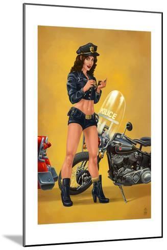Pinup Girl Police Officer-Lantern Press-Mounted Art Print