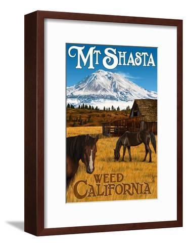 Mt. Shasta - Weed, California - Horses and Mountain-Lantern Press-Framed Art Print