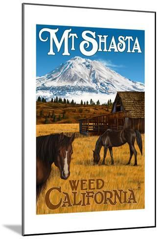 Mt. Shasta - Weed, California - Horses and Mountain-Lantern Press-Mounted Art Print