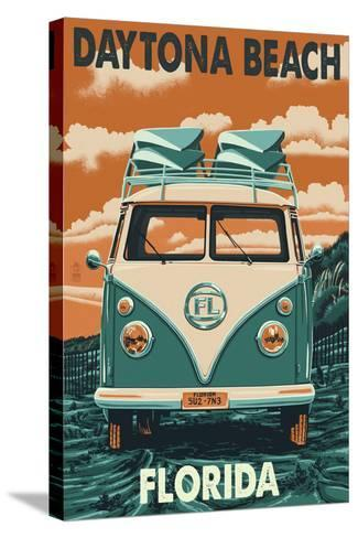 Daytona Beach, Florida - VW Van-Lantern Press-Stretched Canvas Print