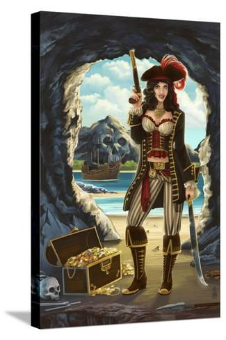 Pirate Pinup Girl-Lantern Press-Stretched Canvas Print