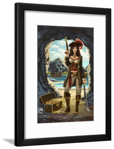 Pirate Pinup Girl-Lantern Press-Framed Art Print