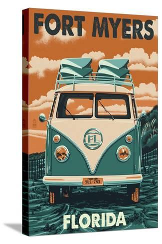 Fort Myers, Florida - VW Van-Lantern Press-Stretched Canvas Print