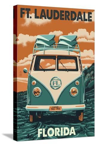 Ft. Lauderdale, Florida - VW Van-Lantern Press-Stretched Canvas Print