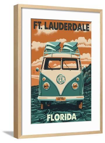 Ft. Lauderdale, Florida - VW Van-Lantern Press-Framed Art Print