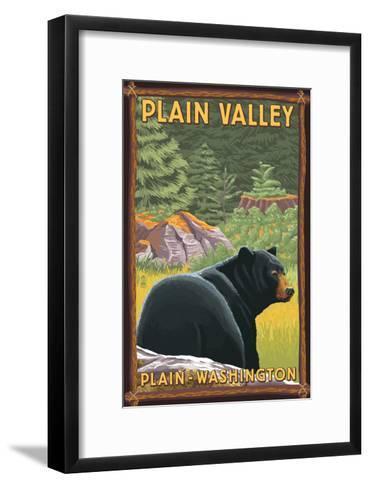Plain, Washington - Black Bear in Forest-Lantern Press-Framed Art Print
