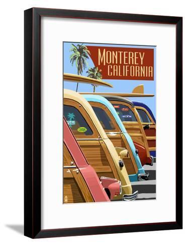 Monterey, California - Woodies Lined Up-Lantern Press-Framed Art Print