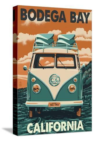 Bodega Bay, California - VW Van-Lantern Press-Stretched Canvas Print