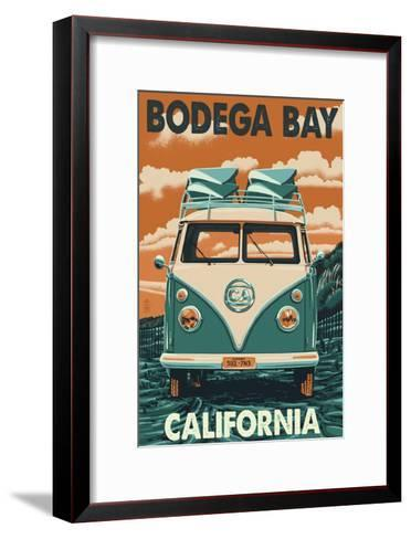 Bodega Bay, California - VW Van-Lantern Press-Framed Art Print