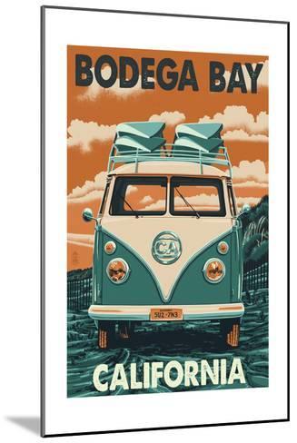 Bodega Bay, California - VW Van-Lantern Press-Mounted Art Print